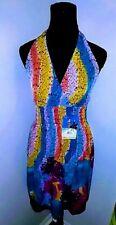 Multicolored halter sundress spring summer beach cruise size M New