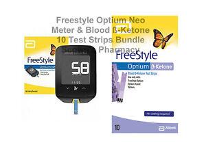 Genuine 1 x Freestyle Optium Neo Meter & 1 x Blood ß-Ketone 10 Test Strips Pack