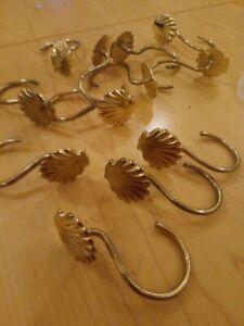 Seashell Scallops Shell Gold shower curtain hooks rings x 12