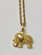 """Sweet 18ct Yellow Gold Diamond Cut Sparkle Elephant With 21"""" Chain"""