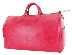 Authentic LOUIS VUITTON Speedy 40 Red Epi Leather Boston Handbag Purse #35566