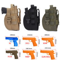Right Hand Tactical Molle Belt Military Pistol Holster Gun Bag Flashlight Pouch