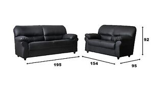New Large Candy Sofas Black or Brown Faux Leather High Back Suite CHEAP