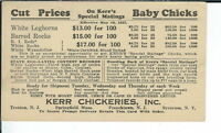 AY-111 1927 Kerr Chickeries, Springfiled, Frenchtown, Advertising Postcard