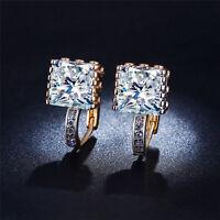 Cubic Zirconia CZ Crystal Huggie Hoop Earrings 18K Yellow Gold Plated Women
