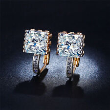 Cubic Zirconia CZ Crystal Huggie Hoop Earrings 18K Yellow Gold Plated Women