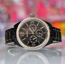New FOSSIL BQ3342 Chronograph Glitz Black Acetate Bracelet Women Watch