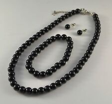 BLACK GLASS PEARL NECKLACE  WITH  EARRINGS  AND BRACELET