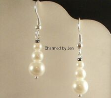 New Faux White Pearl SNOWMAN Christmas Holiday Silver Dangle Charm Earrings