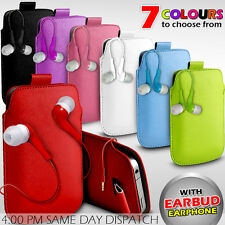 LEATHER PULL TAB POUCH SKIN CASE COVER+EARBUD EARPHONE FOR VARIOUS APPLE MOBILES