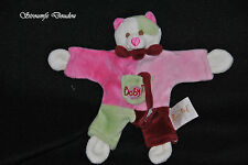 Peluche Doudou Chat BABYNAT BABY'NAT Rose Rouge Vert Attache Tetine TBE 2 Dispo
