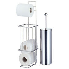 VALENCIA - chromé Toilette Brosse & Rouleau Papier Distributeur - Argent BATS03