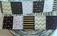 """Black White Yellow Patterns inspired 1"""" Grosgrain Ribbon-By The Yard -USA Seller"""