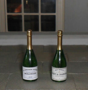 TWO DOLLS' HOUSE 1/12TH SCALE CHAMPAGNE BOTTLES