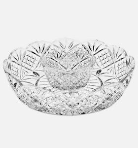 "Godinger Dublin Crystal Collection 8"" Chip & Dip 2 Piece Serveware 25989 NEW"