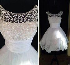 Short Beaded White/Ivory Wedding Dresses Bridal Gown Custom all Size 4-18+