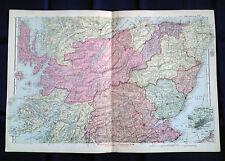 La Scozia, centrale, anni 1890, CANCELLO Piega Carta Da Bacon'S ATLAS