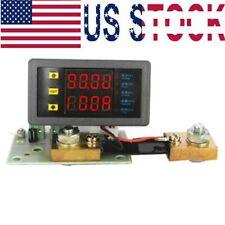 DC 10V-90V 0-100A dual digital LED voltage ammeter power meter and shunt