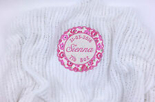 Personalised Embroidered with Babies Name 100% Cotton Cellular Blanket White