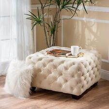 Provence Tufted Velvet Fabric Square Ottoman Bench