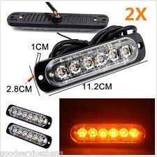 2X 18W Super Bright Amber 6-LED Flash Emergency Hazard Warning Strobe Light Bar