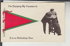 Red and Green Printed Pennant Couple Kissing on a Chair in Middleboro MA Mass