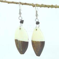 Maasai Market Handmade African Shield halftone Bovine Cow Bone earrings 484-134