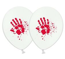 """Halloween - Bloody Hand print - 12"""" Printed White Latex Balloons Pack of 25"""