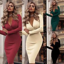 UK Plus 6-24 Women Bodycon Dress Dresses Sundress Long Sleeve Evening Party Fit