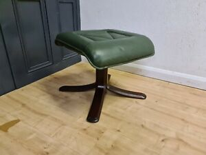 GREEN LEATHER FOOTSTOOL