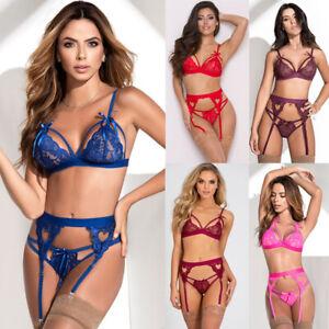 Sexy Lace Bra Thong Suspender Set Ladies Underwear Lingerie BX60 L50
