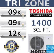 21.5 SEER Tri Zone Mini Split Air Conditioner Heat Pump : 9000 x 2 + 12000 BTU