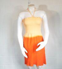 Ingear Orange Dip Dye Bandeau Tube Dress Size Large Stretch Smocked Free Ship