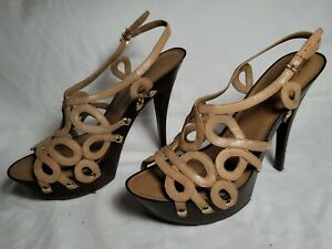Jessica simpson Leather Beige Open Toe Platform High Heel Size 10