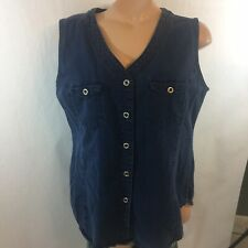 New York Line Blue Sleeveless Button Down Top Great Cover Up