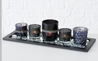 Kerzentablett Windlicht Teelichthalter Teller Schale Tischdeko schwarz SET Glas
