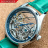 Mens Flywheel Bridge Movement Automatic Mechanical Watch Silver Green Deployant