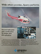 9/1976 PUB SPERRY FLIGHT SYSTEMS HELICOPTER IFR BELL 212 ORIGINAL AD