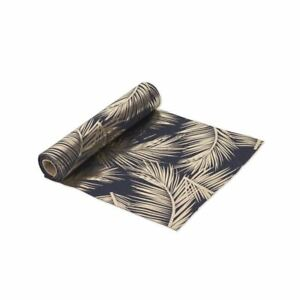 Table Runner Navy Dark Blue with Palm Leaves 5m