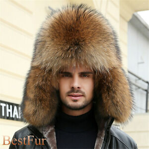 Male Full Covered Real Fox and Rccoon Fur Hat Russian Ushanka Cossack Earflap