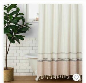 Hearth & Hand Magnolia Woven Copper Stripe Fringed Shower Curtain Farmhouse Boho