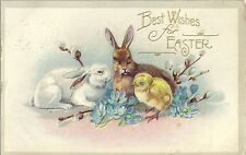 Original Vintage 1907-15 Easter PC- Bunny- Chick- Rabbit- Best Wishes for Easter