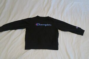 Champion Embroidered Spell Out Sweatshirt Youth Size 5 Boys Black Blue