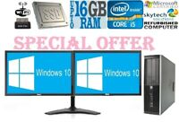 Cheap HP Office PC Quad Core i5 16GB RAM Windows 10 HDD SSD Desktop Dual Monitor