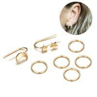 7PCs/Set Minimalist Tiny Punk Jewelry Hoop Star Ear Stud Moon Earrings Set