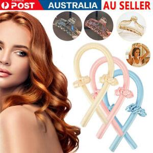 Women Girls Silk Ribbon Hair Curlers Heatless Curling Rod Headband Wave Formers