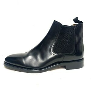 Mens LOAKE Pull-On Black Leather Chelsea Ankle Boots Size 8 *NEW* FREE POST