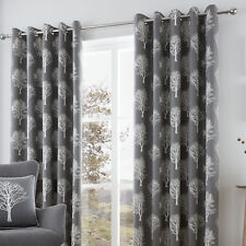 Woodland Trees Charcoal 66x90 Eyelet Lined Curtains