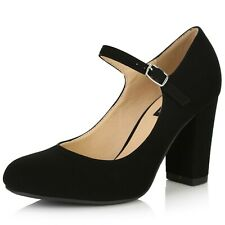 DailyShoes Women's Chunky Classic Round Toe Mary Jane style Shoes Buckle Closure