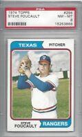 1974 Topps baseball card #294 Steve Foucault, Texas Rangers graded PSA 8